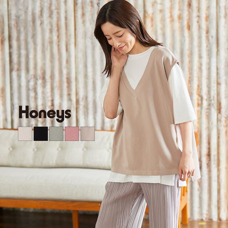 トップス セットアイテム Tシャツ   Honeys   詳細画像1
