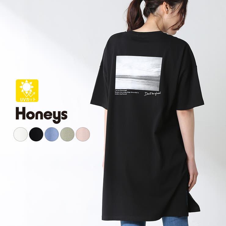 チュニック 半袖 フォトプリント   Honeys   詳細画像1