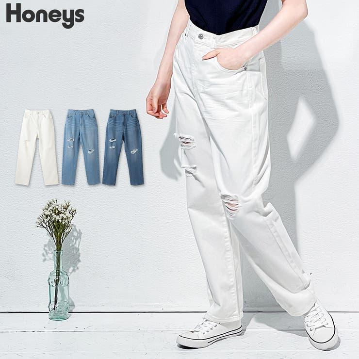 パンツ デニム ダメージ加工   Honeys   詳細画像1