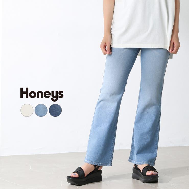 パンツ フレアパンツ 無地   Honeys   詳細画像1