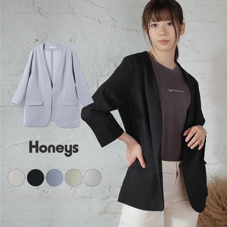 ジャケット カラーレス 8分袖 | Honeys | 詳細画像1