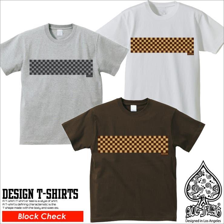 ≪ブロックチェック≫半袖Tシャツ ACEFLAG エースフラッグ   本格派大人のB系    詳細画像1
