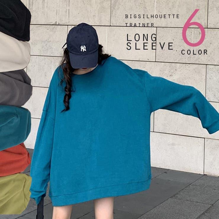 選べる6色 ゆるシルエットが可愛い 無地ビックトレーナー   ica   詳細画像1