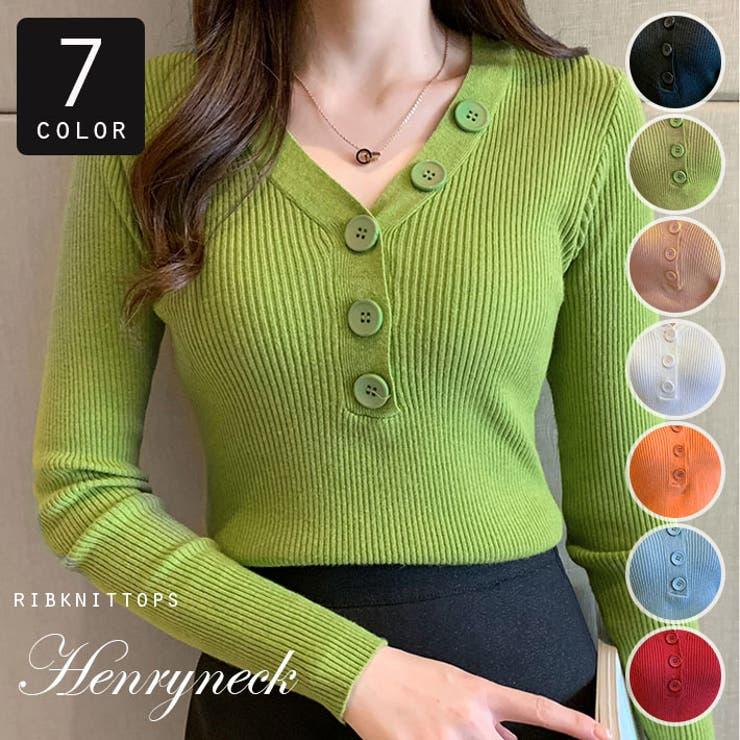選べる7色 ヘンリーネックリブニットセーター リブニットソー | ica | 詳細画像1