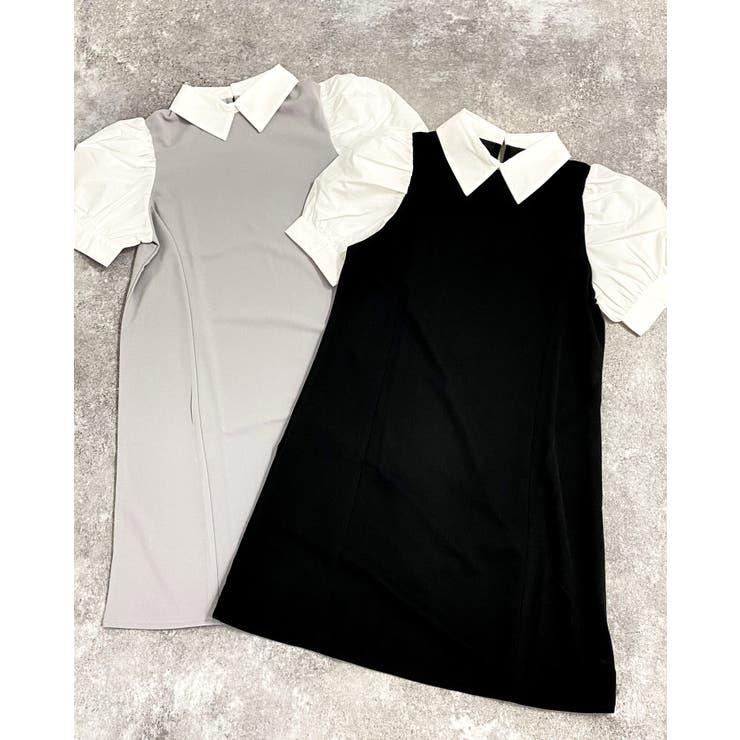 ナシポン衿付異素材OP                          INGNI    詳細画像1