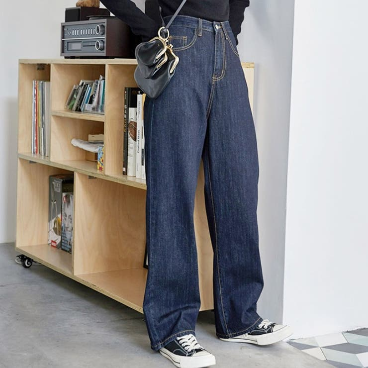 jemiremi ハイウエストインディゴストレートワイドパンツ 韓国ファッション | jemiremi | 詳細画像1