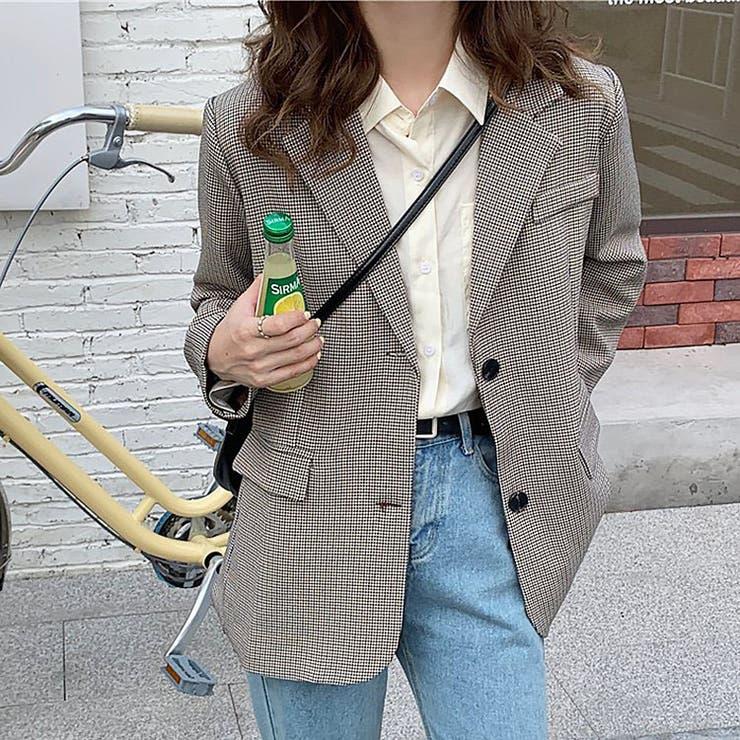 jemiremi ミニマムチェックレトロテーラードジャケット 韓国ファッション | jemiremi | 詳細画像1