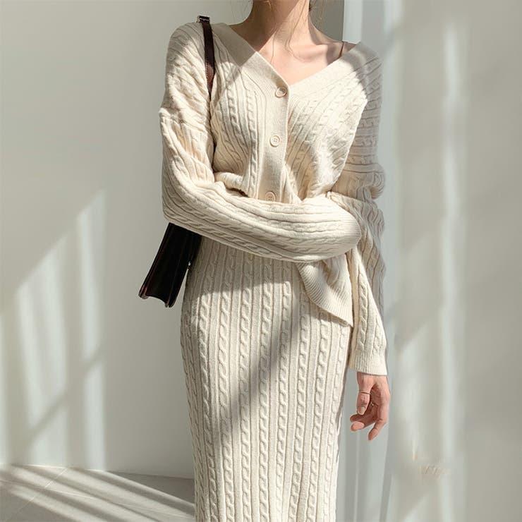 jemiremi ボリュームケーブルニットセットアップ 韓国ファッション | jemiremi | 詳細画像1