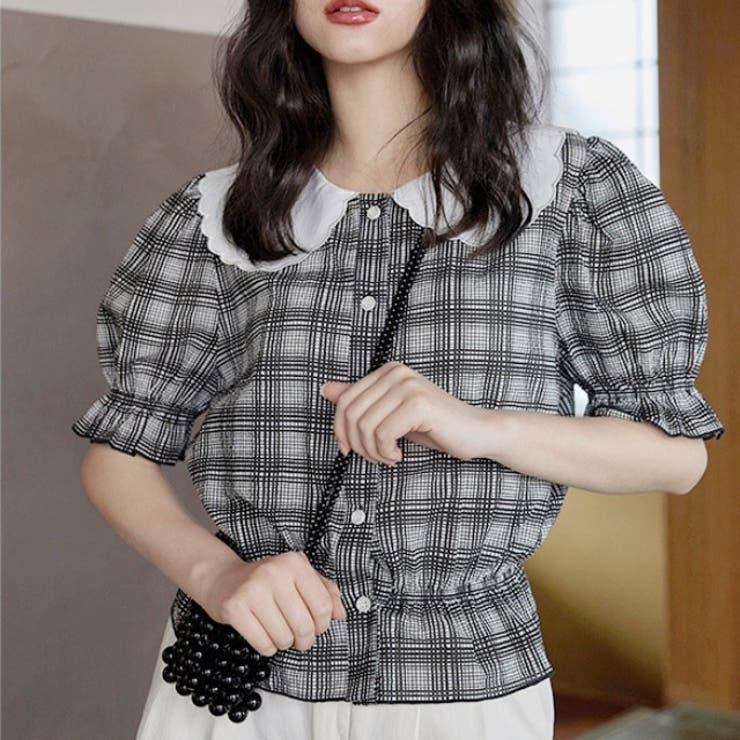 jemiremi ドールカラーブラックチェックブラウス 韓国ファッション | jemiremi | 詳細画像1