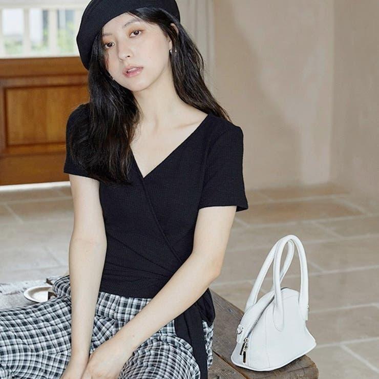 jemiremi カシュクールVネックリブTシャツ 韓国ファッション   jemiremi   詳細画像1