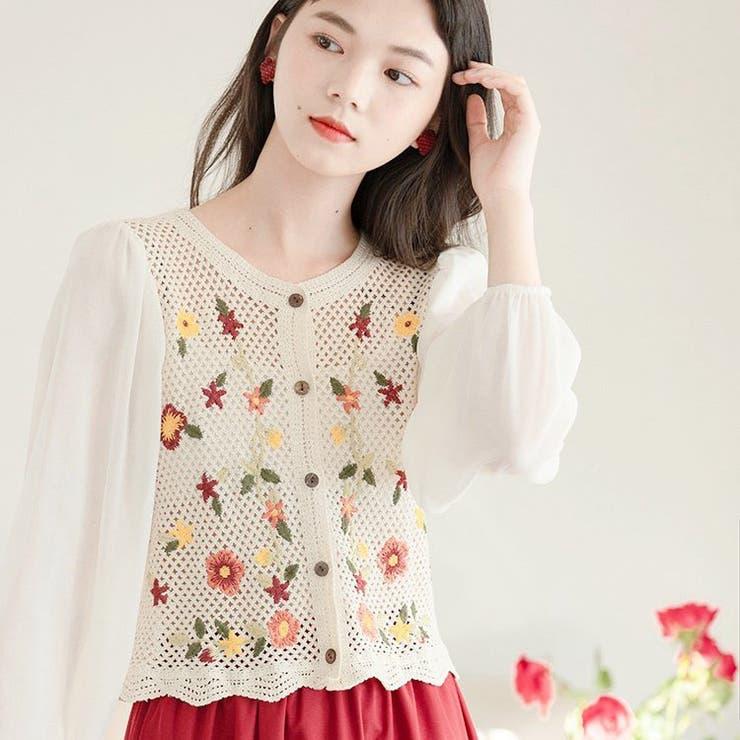 jemiremi フラワーエンブロイダリーメッシュブラウス 韓国ファッション | jemiremi | 詳細画像1