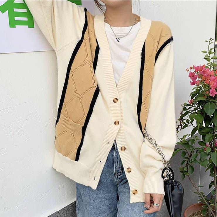 jemiremi フェイクレイヤードロンバスニットカーディガン 韓国ファッション | jemiremi | 詳細画像1