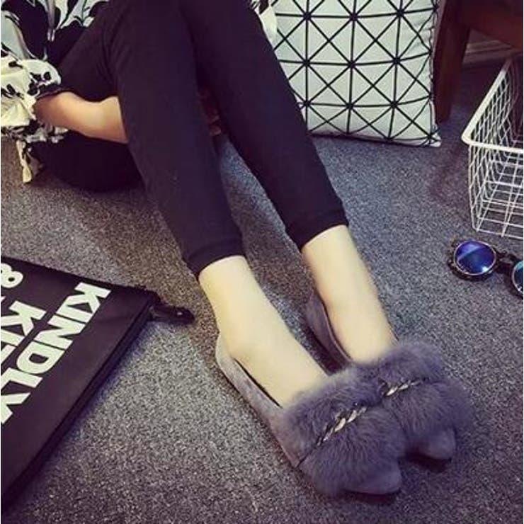 チェーン付ファーパンプス 靴 フラットシューズ   JESSICA   詳細画像1