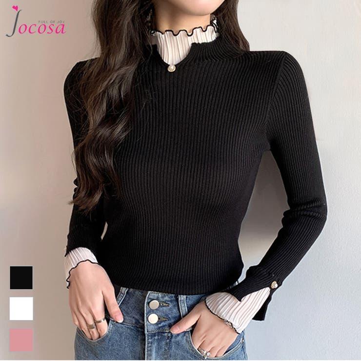 ニットトップス 長袖ニット 韓国ファッション   JOCOSA   詳細画像1