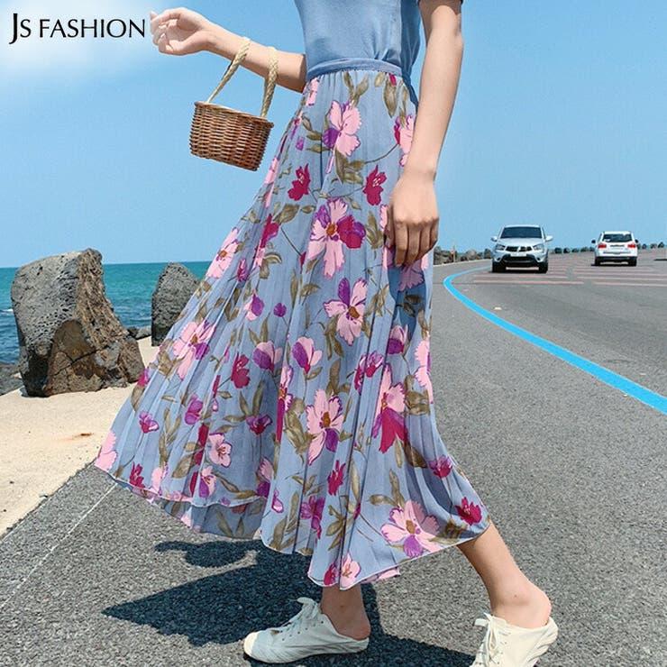 ロングスカート 全2色 花柄スカート   JS FASHION   詳細画像1