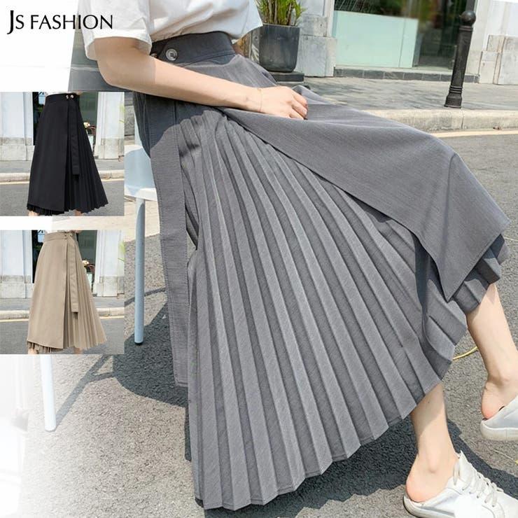 ラップスカート 全3色 プリーツ切替ロングスカート | JS FASHION | 詳細画像1