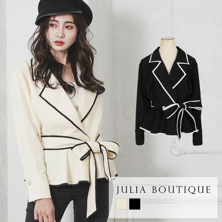 ウエストリボン付きパイピングペプラムシャツ  | JULIA BOUTIQUE | 詳細画像1
