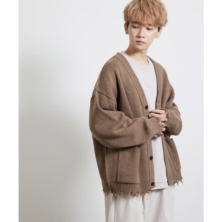 ダメージニットルーズカーディガン   JUNRed   詳細画像1