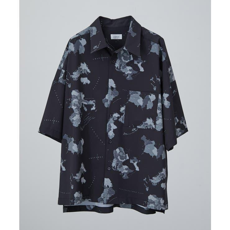 ワールドマッププリントシャツ   JUNRed   詳細画像1