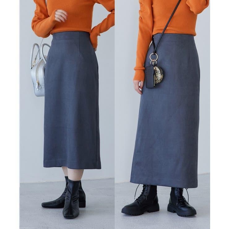 【選べる着丈】程よいストレッチ感。ベロアタッチタイトスカート   ViS    詳細画像1