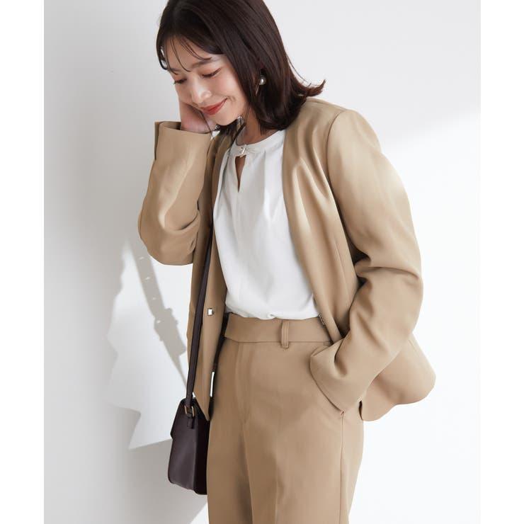 シワになりにくい美人丈、ノーカラージャケット | ViS  | 詳細画像1