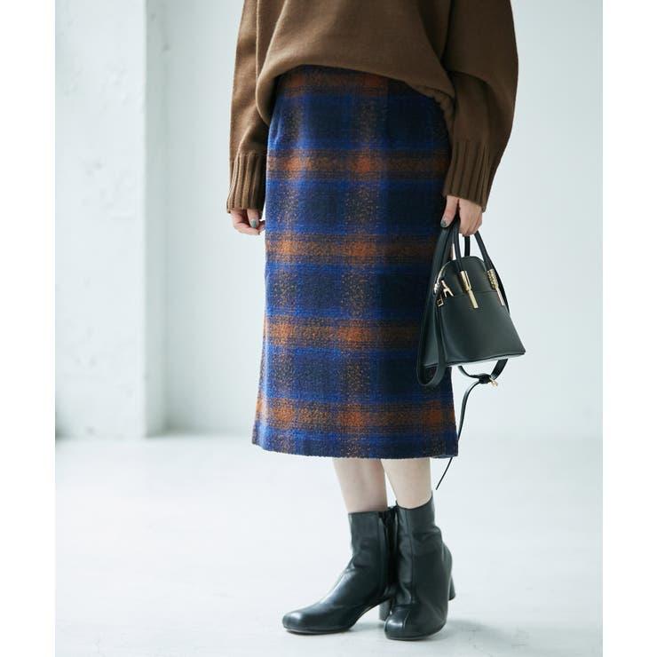 【WEB限定カラー:ベージュ】BIGチェックアイラインスカート   ROPE' PICNIC   詳細画像1