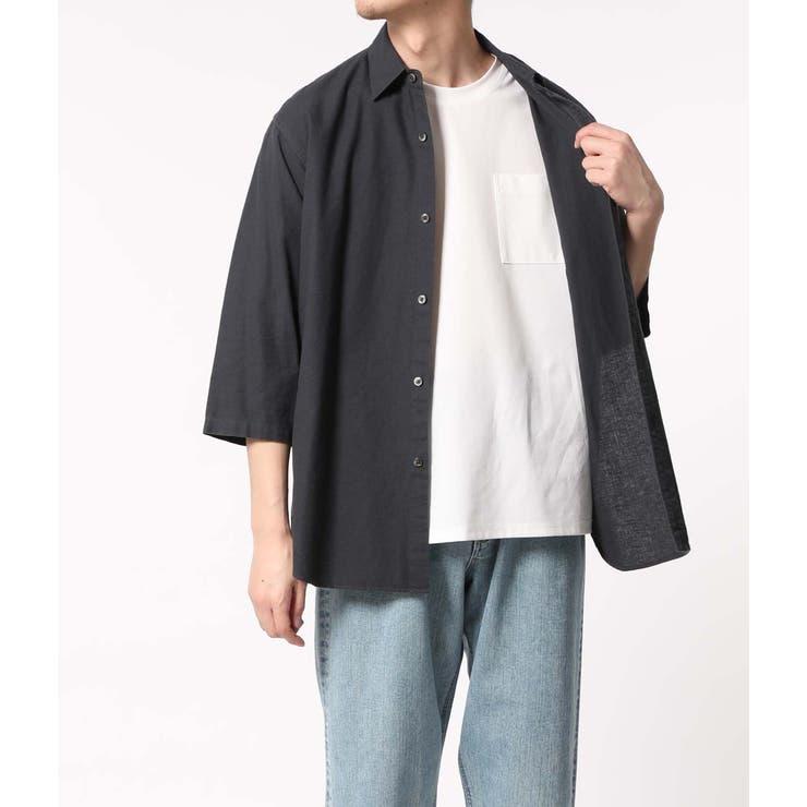 〈バンブー素材〉オーバーサイズ レギュラーカラー7分袖シャツ   ADAM ET ROPE' OUTLET   詳細画像1