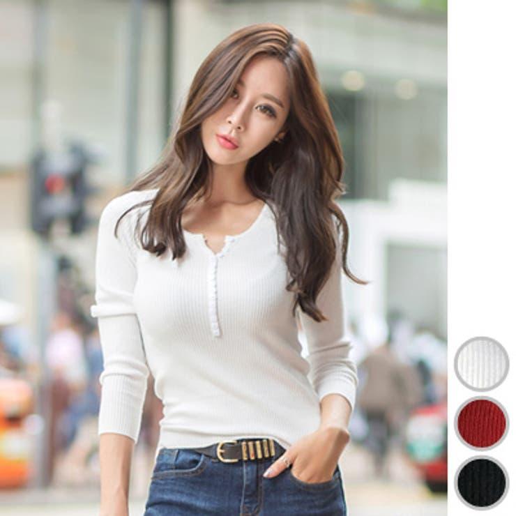 【ts17528】タイトなデザインで美ボディを叶える♪飾りボタンリブニット長袖Tシャツ