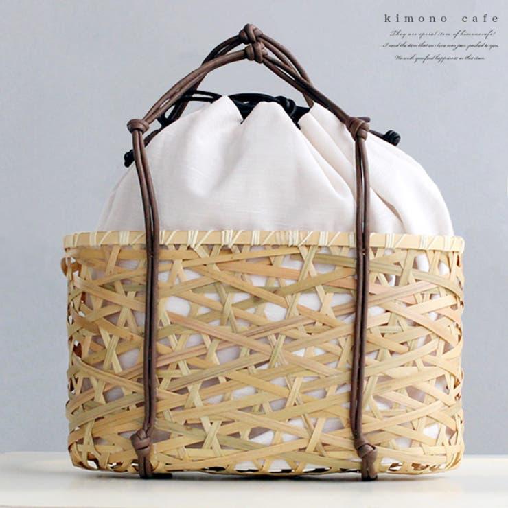竹かご バッグ 無地 巾着 オフホワイト 夏 浴衣 籠 | kimonocafe | 詳細画像1