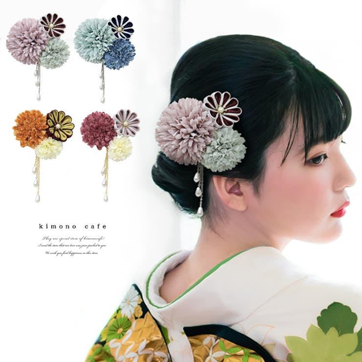 髪飾り 小菊 つまみ細工 浴衣 夏 着物 振袖 袴 レディース 3色 | kimonocafe | 詳細画像1
