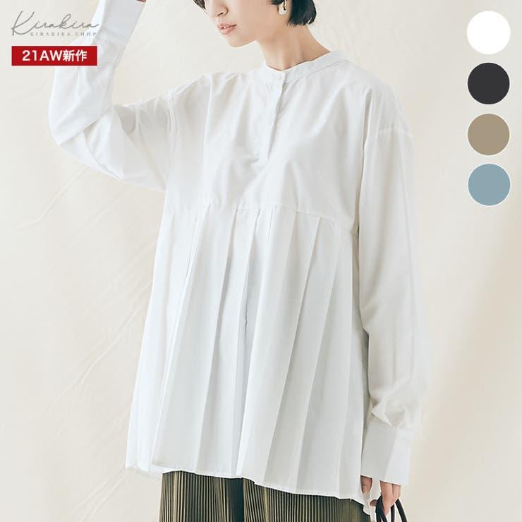プリーツ切り替えヘンリーネックシャツ トップス プリーツ切り替えシャツ   kirakiraShop    詳細画像1