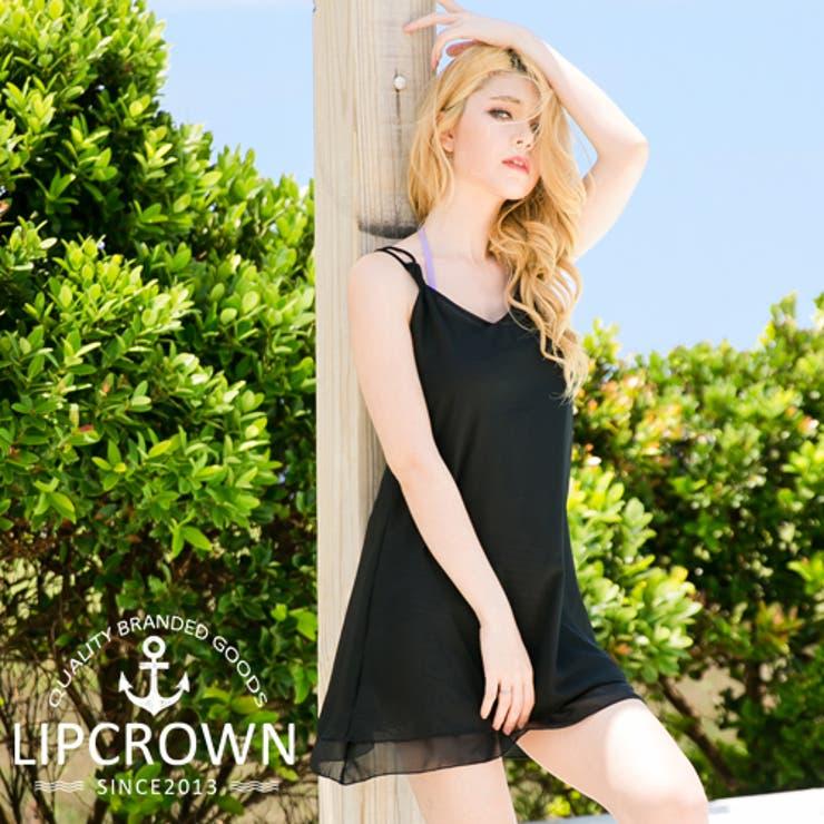 【土日も】【カラバリ2色】LipCrownオリジナルシフォンワンピースオーバーウェアビーチドレスビーチウェア水着ビキニの上体型カバー黒ブラック | 詳細画像