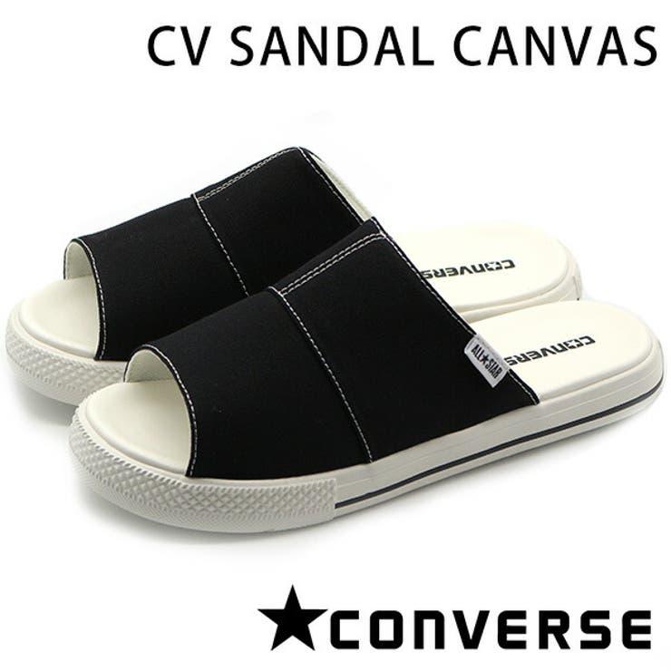 コンバースオールスターサンダルレディースメンズフラットブラック黒軽量軽いCONVERSECVSANDALCANVAS | 詳細画像