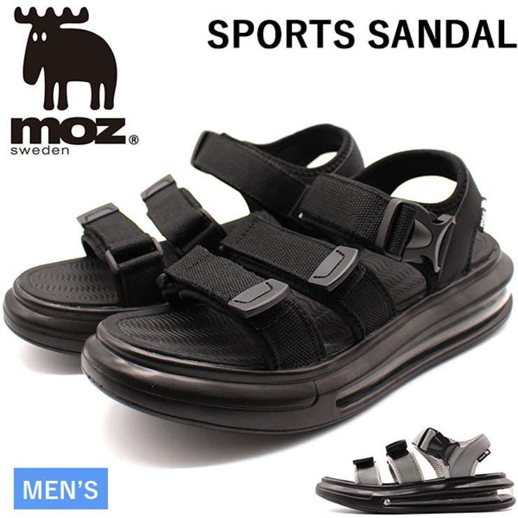 モズサンダルメンズ靴スポーツサンダル黒ブラックグレーエアクッション厚底疲れにくいカジュアルmoz1805 | 詳細画像
