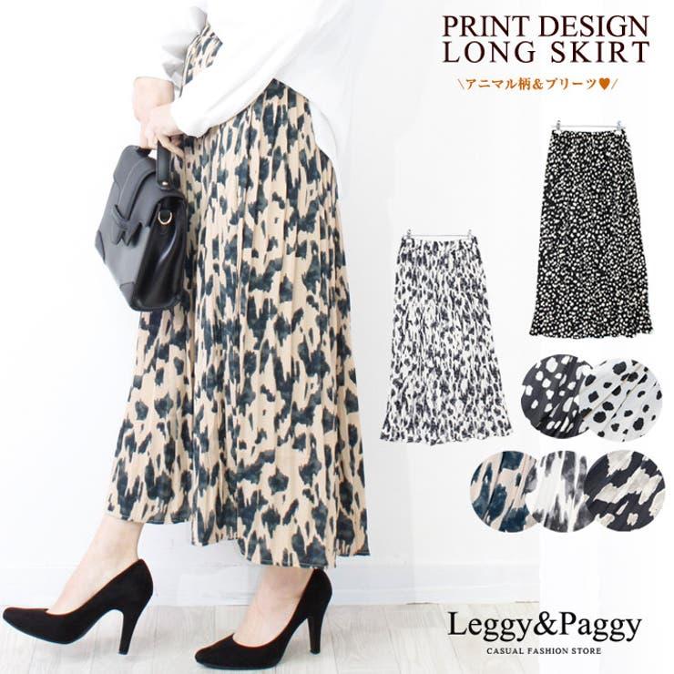 プリーツスカート プリントロングスカート プリーツロングスカート   Leggy&Paggy   詳細画像1