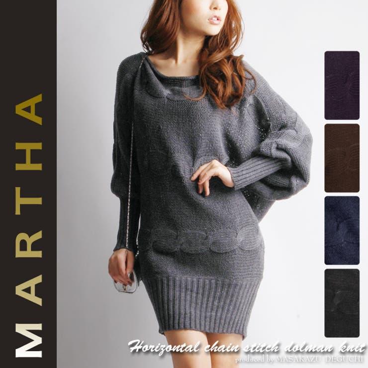 【MARTHA】マーサ★横縄編みドルマンロングニット[6197] | 詳細画像