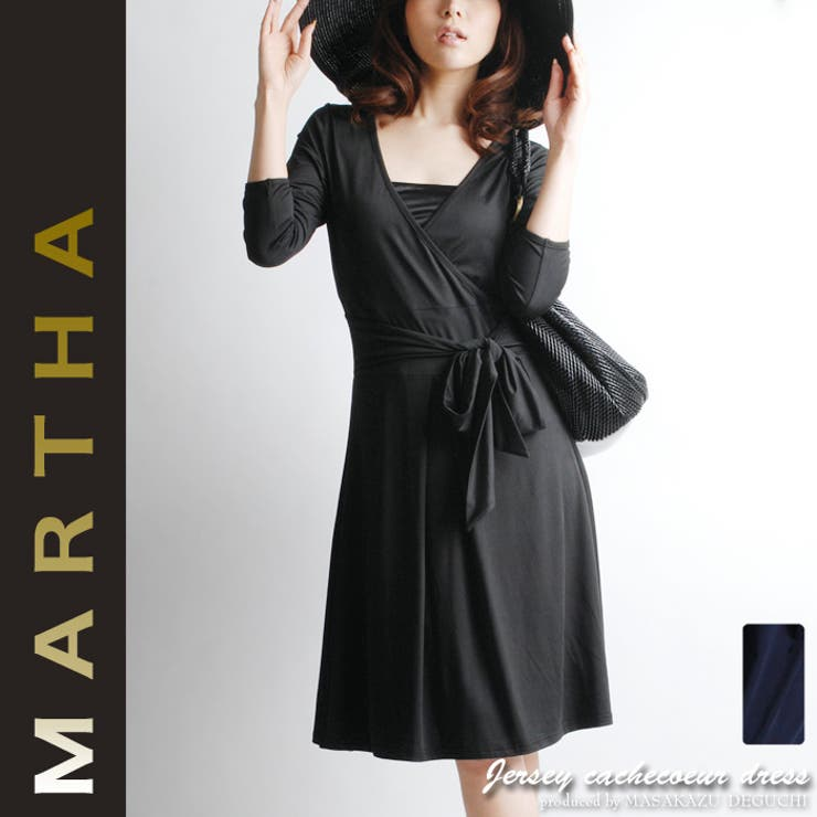 【MARTHA】マーサ★カシュクールジャージーワンピース[Lサイズ有り][6108] | 詳細画像