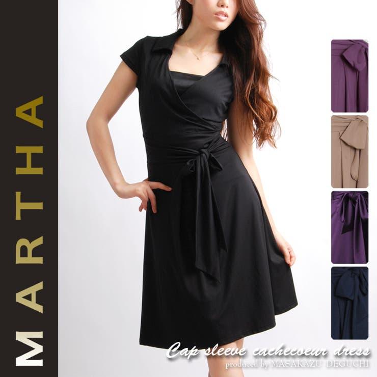 【MARTHA】マーサ★キャップスリーブカシュクールワンピース<Lサイズ有り>[6135] | 詳細画像