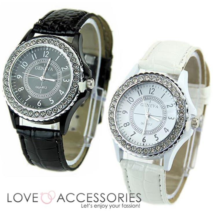 ラインストーンベゼルレディースファッションウォッチ 時計 腕時計 アクセサリー