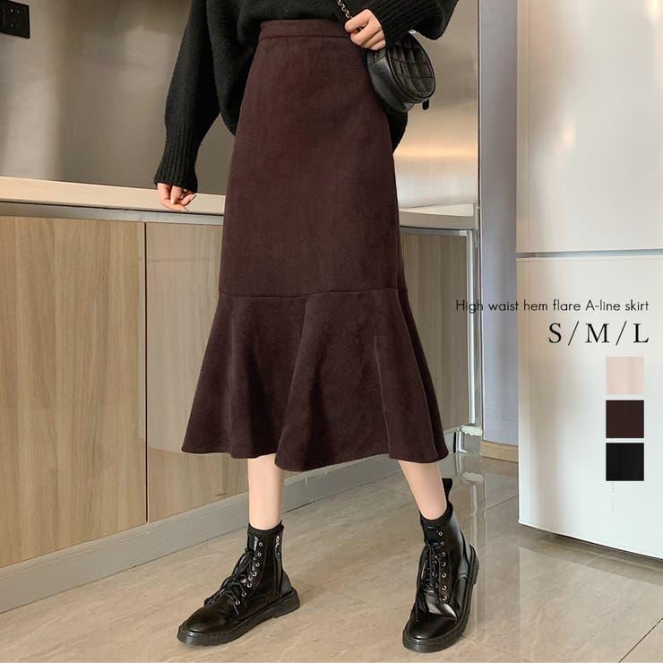 ハイウエスト裾フレアAラインスカート スカート ミディ丈   Love Berry   詳細画像1