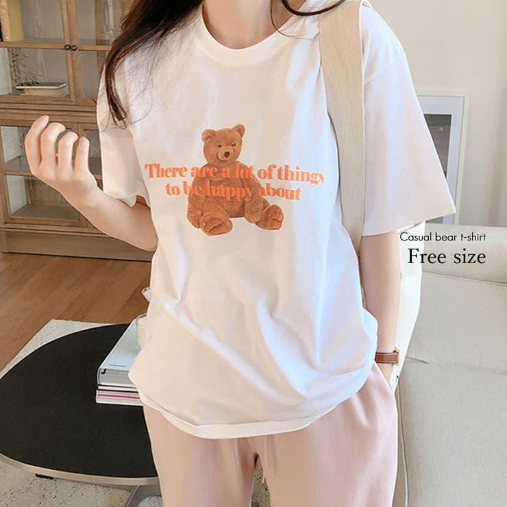 カジュアルベアTシャツ トップス Tシャツ | Love Berry | 詳細画像1
