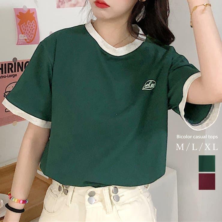 バイカラーTシャツ 半袖 カジュアル   Love Berry   詳細画像1