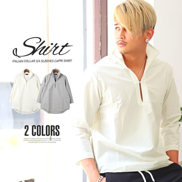 カプリシャツ メンズ 7分袖 | LUXSTYLE | 詳細画像1
