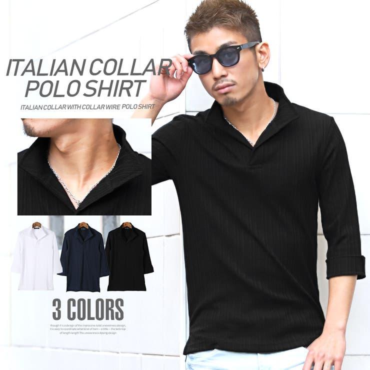 イタリアンカラー・ポロシャツ・メンズ | 詳細画像