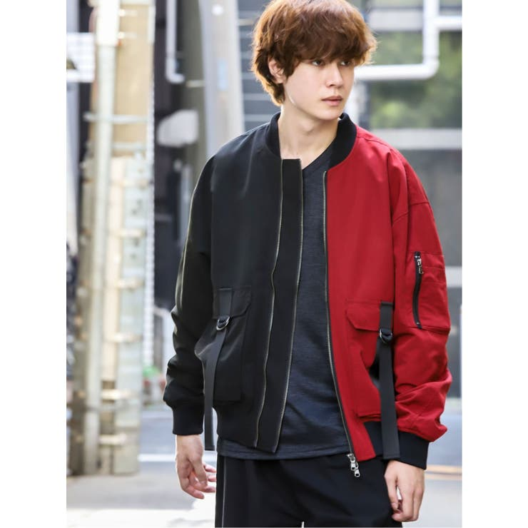 【WEB限定カラー】エステル配色ボンバージャケット   TAKA-Q MEN   詳細画像1