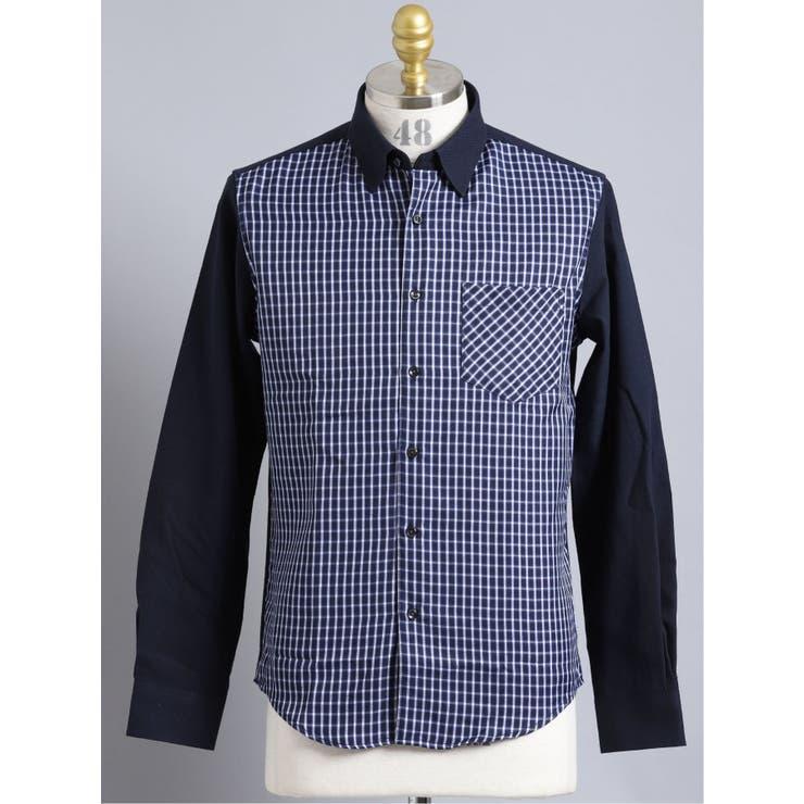 オックス 前身チェック レギュラーカラー長袖シャツ | TAKA-Q MEN | 詳細画像1