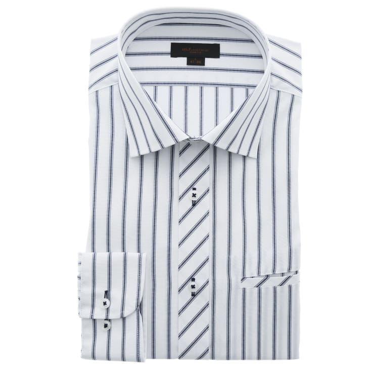 形態安定スリムフィット ワイドカラー玉縁ポケット長袖シャツ   TAKA-Q MEN   詳細画像1