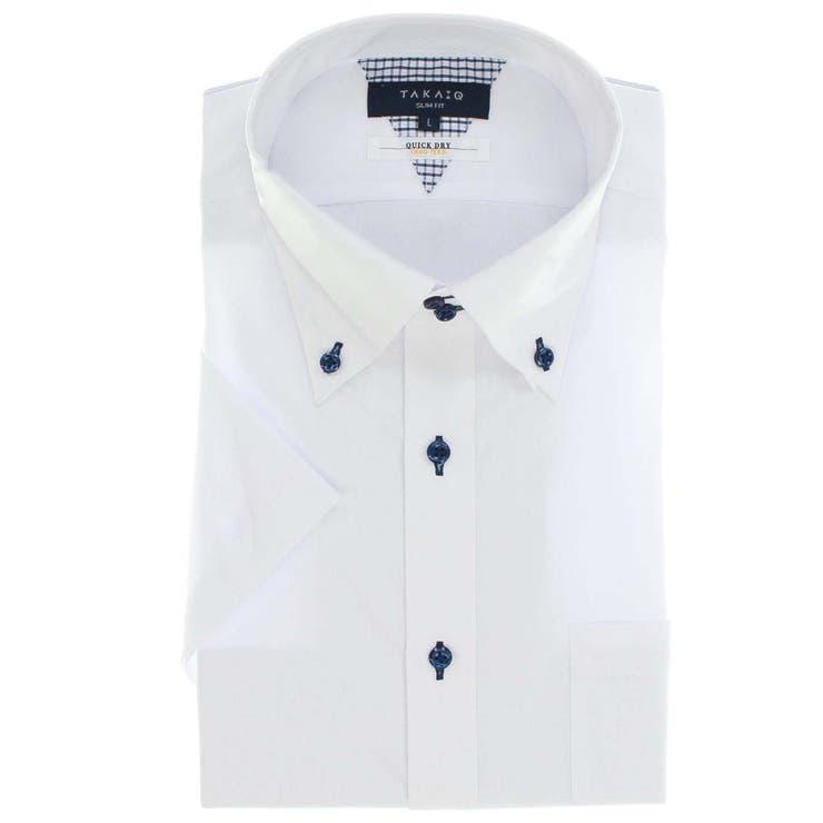 形態安定抗菌防臭スリムフィット ドゥエボタンダウン半袖シャツ | TAKA-Q MEN | 詳細画像1
