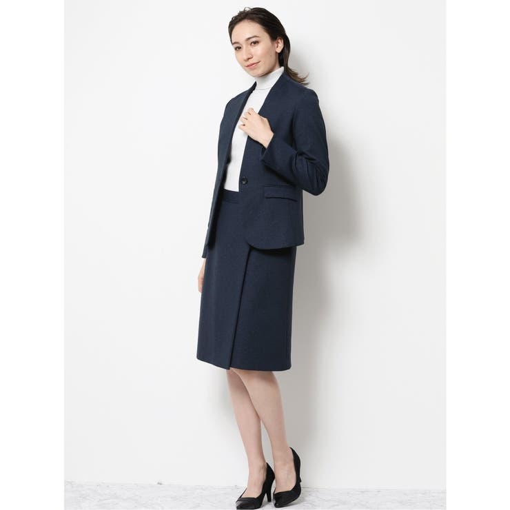 m f editorial:ストレッチウォッシャブル2ピーススーツ紺   TAKA-Q   詳細画像1
