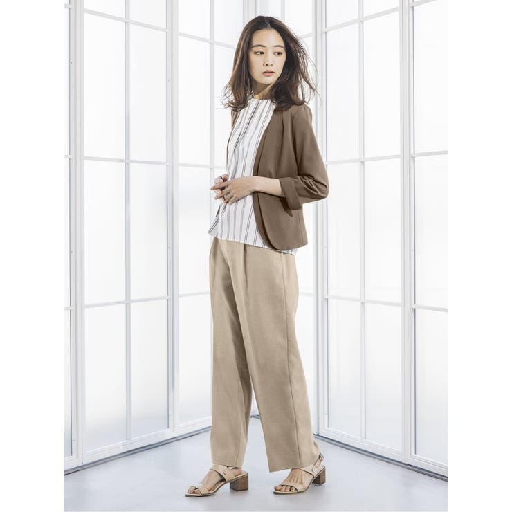 サマーポンチ セットアップ カラーレス7分袖ジャケット ベージュ   TAKA-Q   詳細画像1